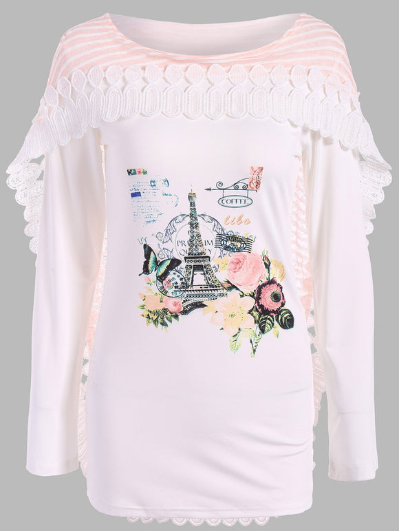 Graphic Lace Insert Cape T-Shirt