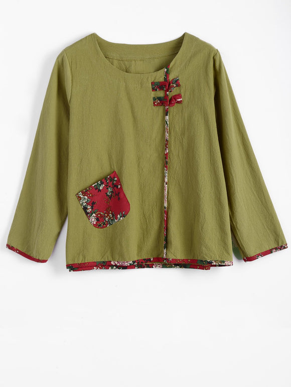 Flower Print Long Sleeve Chinese Button Top