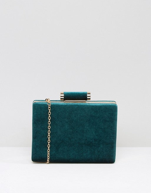 Boohoo Velvet Box Clutch Bag
