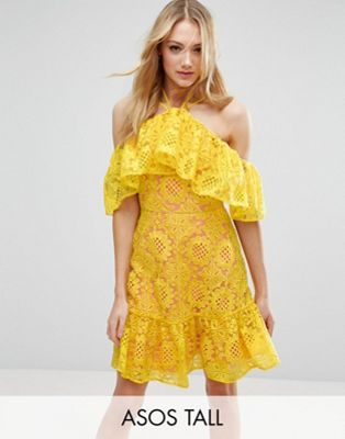 Lace Off Shoulder Dress With Contrast Lining