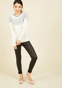 White Knit Top with Blue Design Full Sleeves
