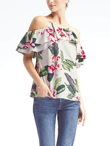 Floral Easy Care Cold-Shoulder Flutter Sleeve Top