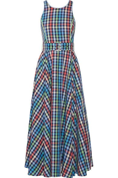 Maxi Checked Blue Dress