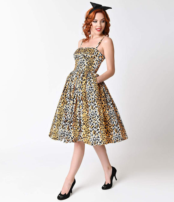 Bernie Dexter 1950s Style Paris Leopard Cotton Swing Dress