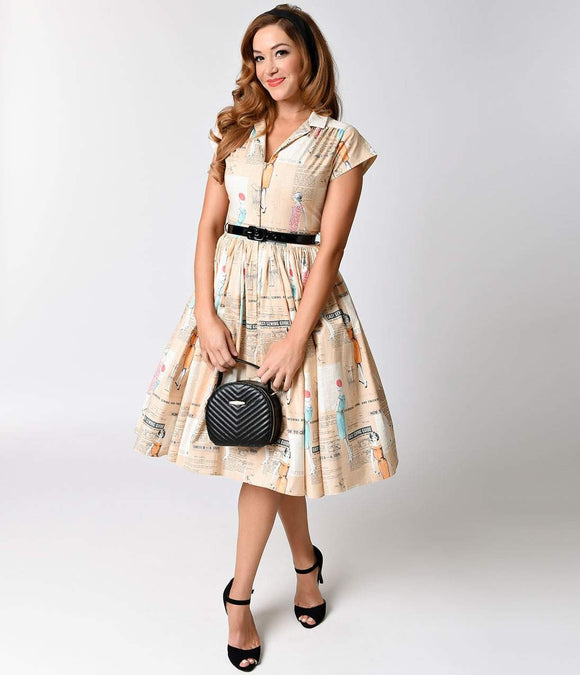Bernie Dexter 1950s Tan Take It Easy Kelly Cap Sleeve Swing Dress