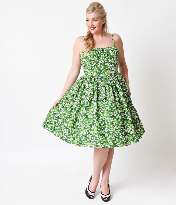 Bernie Dexter Plus Size 1950s Style Daisy Meadow Paris Cotton Swing Dress