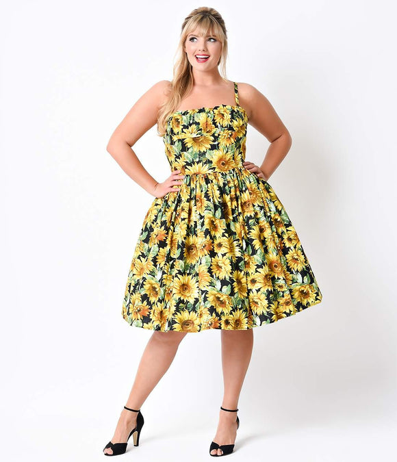Bernie Dexter Plus Size 1950s Style Yellow Sunflowers Paris Cotton Swing Dress