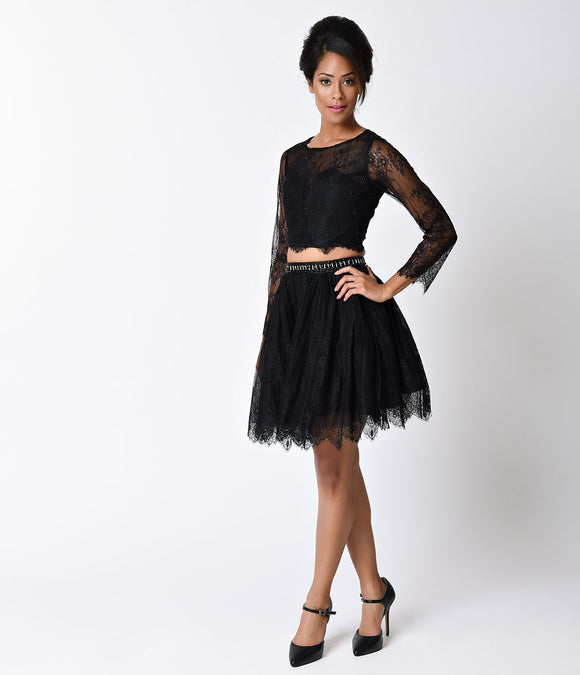 Black Lace Long Sleeve Two Piece Short Dress