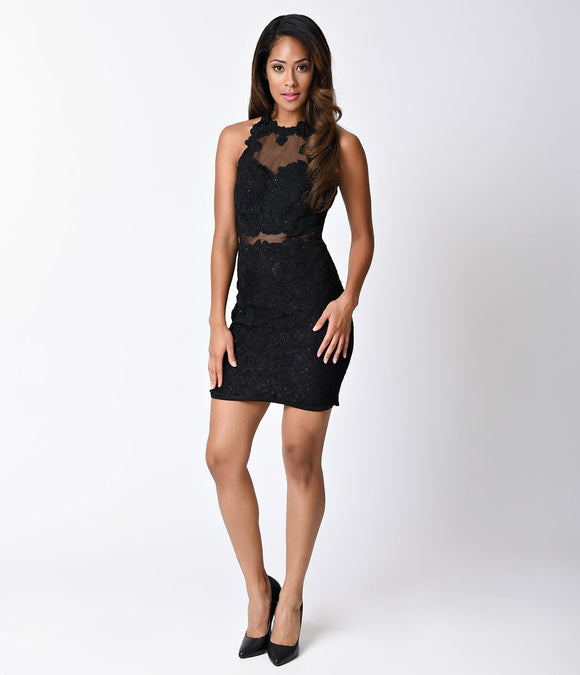 Black Lace Sleeveless Illusion Two Piece Fitted Short Dress