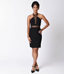 Black Sexy Fitted Illusion Two Piece Short Dress