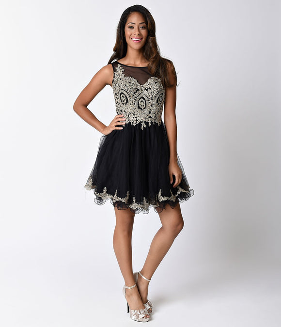 Black Sheer Embellished Tulle Short Dress