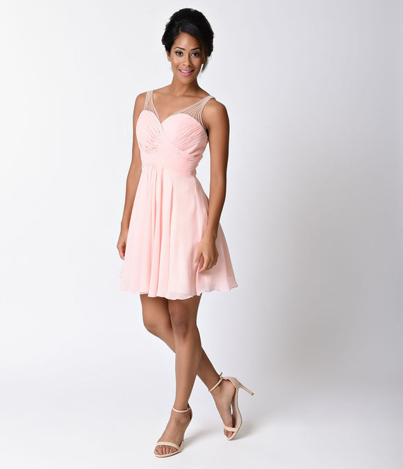 Blush Pink Pleated Wrapped Chiffon Short Dress