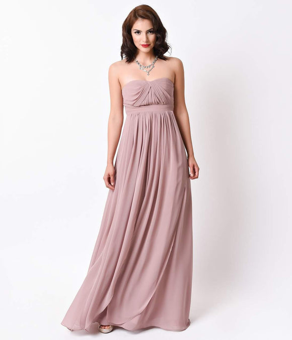 Blush Tan Strapless Chiffon Long Gown for Homecoming 2016