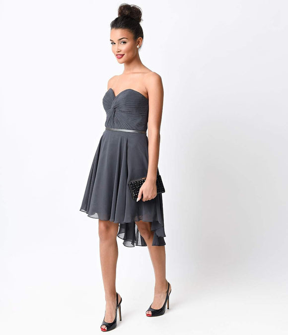 Charcoal Chiffon Strapless Sweetheart Corset Short Dress