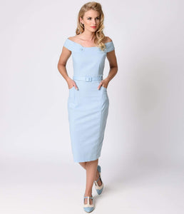 Collectif 1940s Style Dusty Blue Eloise Stretch Cotton Pencil Dress