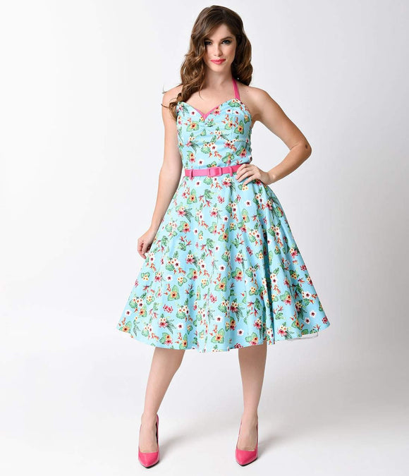 Collectif 1950s Style Aqua Paradise Hawaiian Floral Ginger Swing Dress