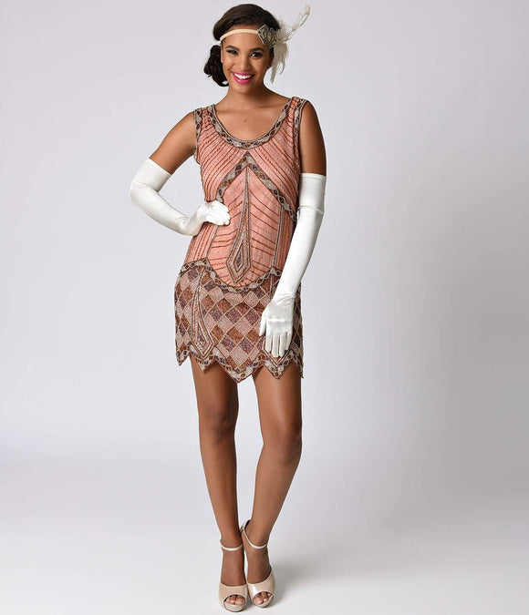 Copper Pink Beaded Sleeveless Flapper Short Dress