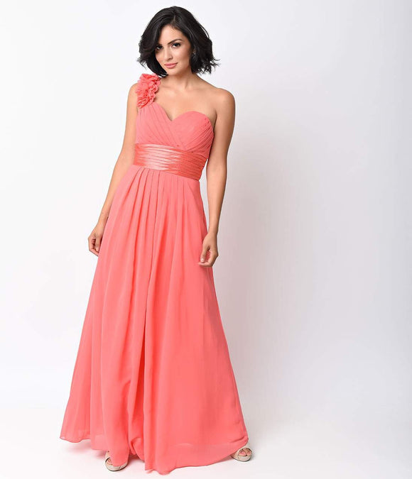 Coral Chiffon Floral Cold Shoulder Long Gown