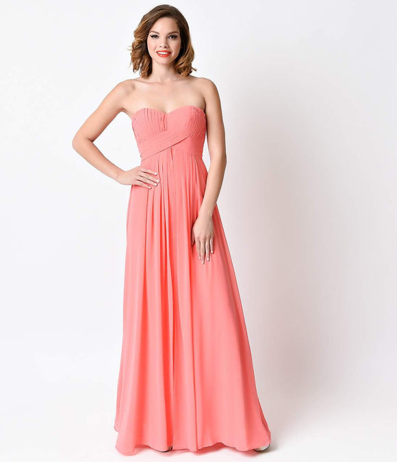 Coral Classic Strapless Sweetheart Chiffon Long Gown