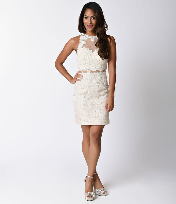 Cream Ivory Lace Sleeveless Illusion Two Piece Fitted Short Dress