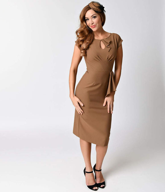 Exclusive Stop Staring! 1940s Style Camel Fitted Timeless Wiggle Dress