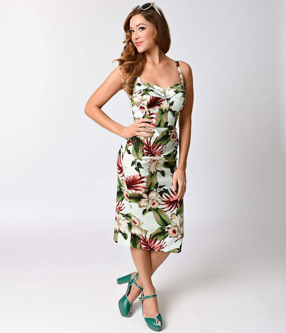 Exclusive Stop Staring! 1950s Mint Hawaiian Floral Marisol Sarong Dress