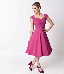 Exclusive Stop Staring! Mad Style Fuchsia Cap Sleeve Swing Dress