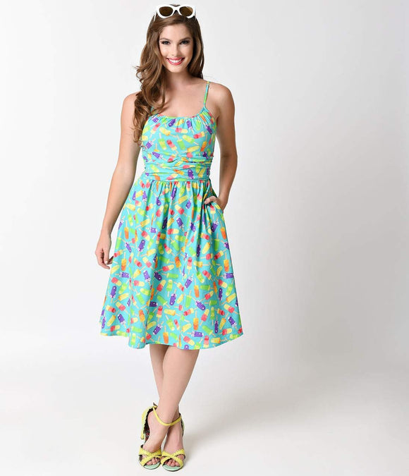 Folter 1950s Green Popsicles Print Swing Dress