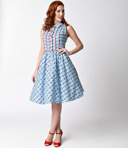 Folter 1950s Style Light Blue Retro Raccoon Cotton Dress
