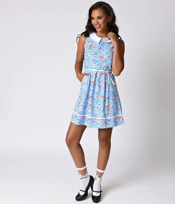 Folter Retro Style Blue Sleeveless Alice Cotton Flare Dress