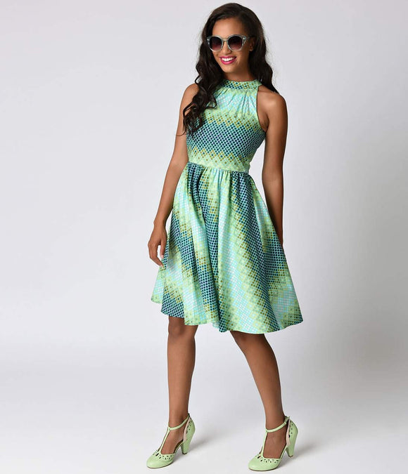 Folter Retro Style Green Mermaid Halter Swing Dress