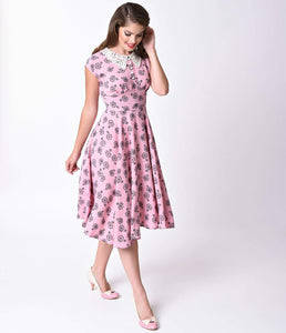 Hell Bunny 1940s Style Pink Vintage Bicycle Penny Lover Swing Dress