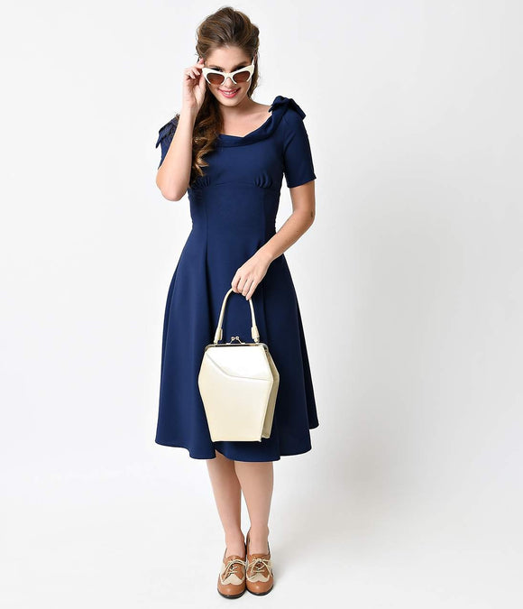 2980b57eb97 Hell Bunny 1950s Navy Crepe Short Sleeved Bianca Swing Dress