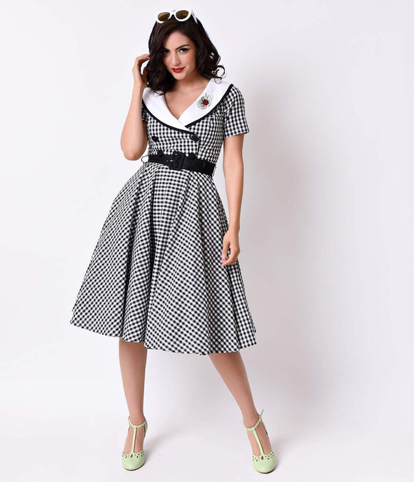 Hell Bunny 1950s Style Black Gingham Short Sleeve Ladybird Swing Dress