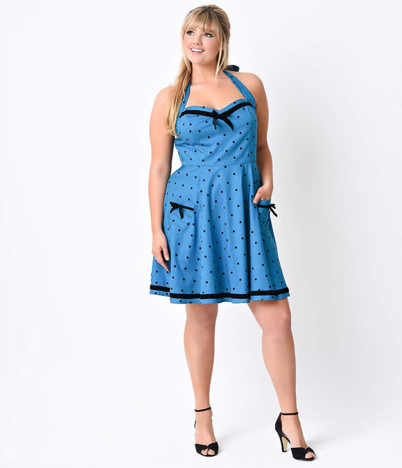 Hell Bunny Plus Size Retro Pin-Up Blue Dot Jolene Halter Flare Dress