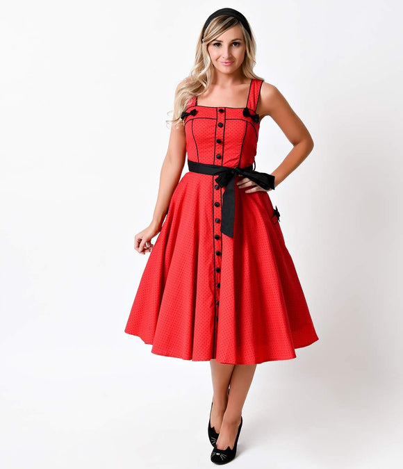 Hell Bunny Retro Pin-Up Red Dot Martie Swing Dress