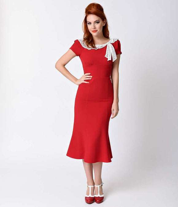 1930s Style Red Charm Short Sleeve Wiggle Dress