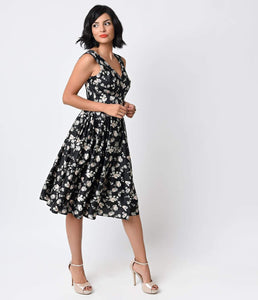 Iconic by UV 1950s Style Black Floral Delancey Sateen Swing Dress