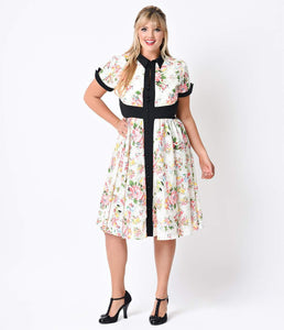 Iconic by UV Plus Size White Floral Sleeved Button Up Peggy Chiffon Swing Dress