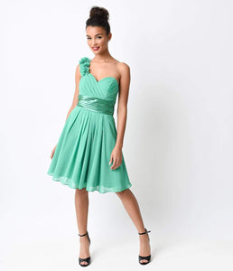 Kelly Green Chiffon Floral Cold Shoulder Short Dress