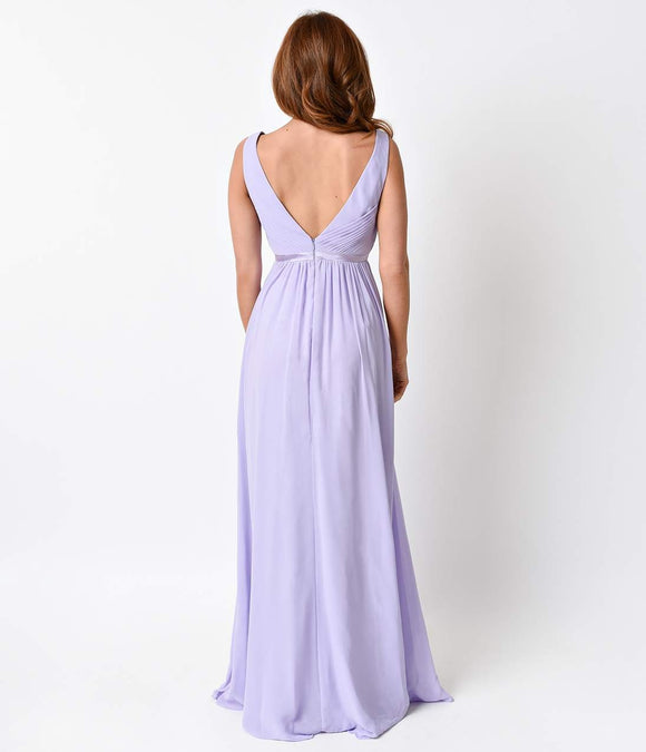 Lilac Pleated Chiffon Illusion Deep V-Neck Dress