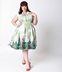 Lindy Bop Plus Size Retro Style Green Alpine Print Gilda Shirt Dress