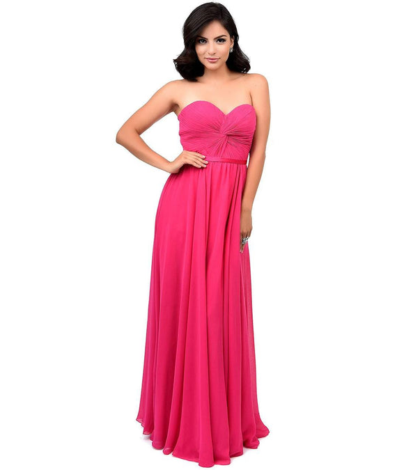 Magenta Chiffon Strapless Sweetheart Corset Long Gown