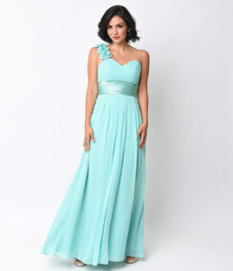 Mint Chiffon Floral Cold Shoulder Long Gown