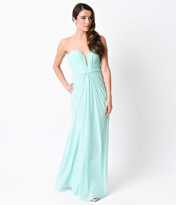 Mint Strapless Mesh Knit Sweetheart Sexy Long Column Gown
