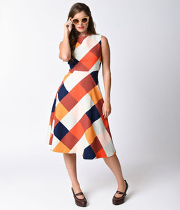 Multicolor Checker Sleeveless High Neck Swing Dress