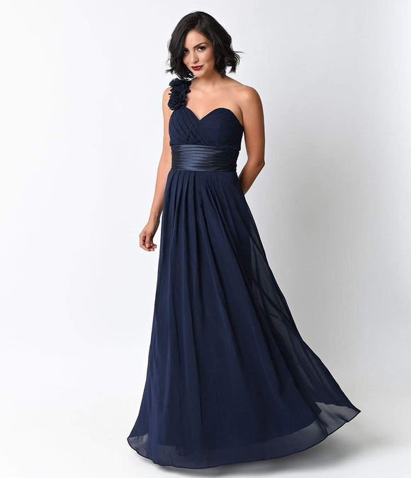 Navy Chiffon Floral Cold Shoulder Long Gown