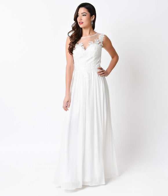 Off White Embellished Chiffon Long Dress