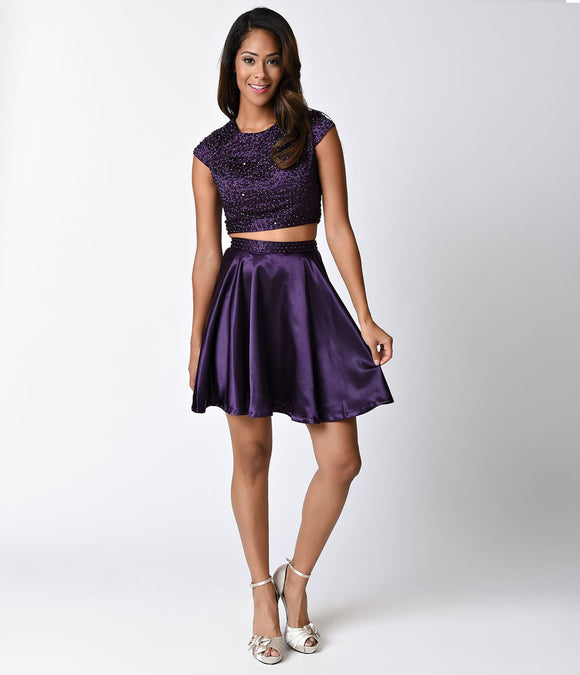 Plum Embellished Cap Sleeve Two Piece Satin Dress