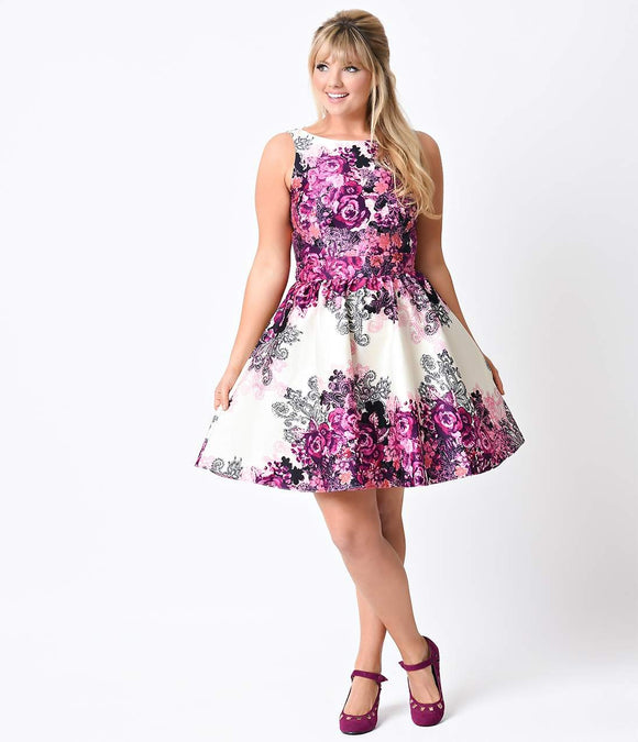 Plus Size 1950s Retro Purple Rose Floral Collage Flared Tea Dress
